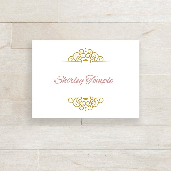 printable table place name cards gold flat and by connieandjoan