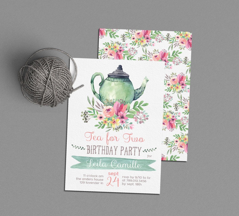 Tea For Two Birthday Invitations Tea Party Invite Printable