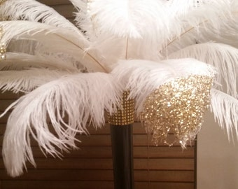 """Gold or Silver Tipped Ostrich Feather Centerpiece- 16"""" vase"""