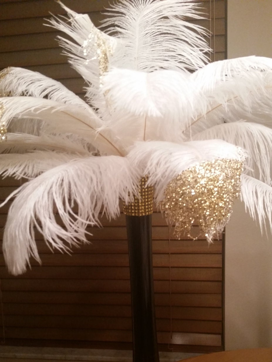 Gold or silver tipped ostrich feather centerpiece