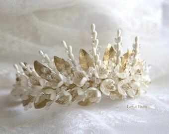 Jasmine blossoms headpiece. Bridal headpiece. Bridal crown. Floral crown. Blossoms headpiece. Wedding headpiece. Style 614