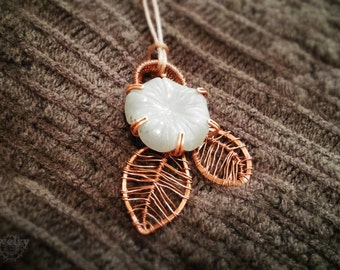 Wire wrapped angelite flower necklace in copper