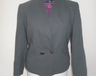 Vintage Jacques Vert Grey jacket 80s with matching blouse Size large 14
