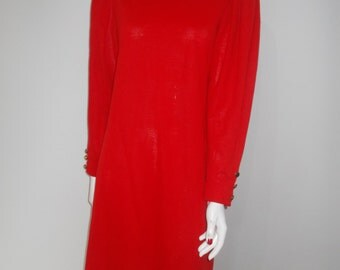 Vintage 80s Jean Muir Essentials red jersey dress size medium large
