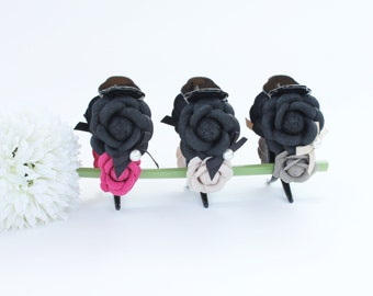 SALE: 23.5 -> 16 dollars!! Flower Lady (Beige) hair claw clip, girl women, casual style, double camelia, black, flowery, winter