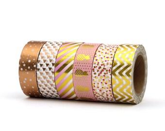 Gold Washi Tape Set Metallic Foil Polka Dots Arrows Chevron Pineapple & Stripes Pack