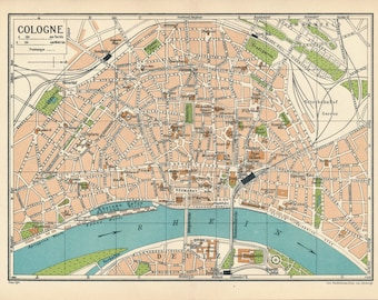 1933 Cologne Germany Antique Map