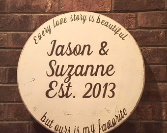 ON SALE Round wood sign - name date signs - rustic wedding sign - est signs - anniversary gift sign - every love story is beautiful sign - l