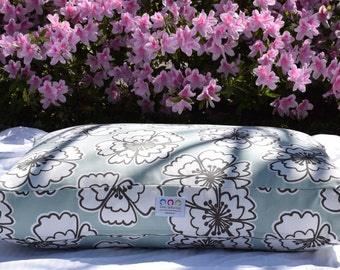Hayley Dog Bed || Puppy Gift || Small Medium || Stylish Lilly Inspired Iceberg Blue Floral || Custom Embroider Dog Bed by Three Spoiled Dogs