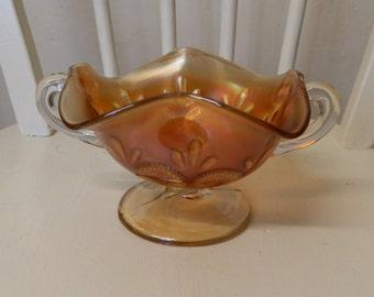 1920's Orange Carnival Glass Pedestal Bowl / Bon Bon Dish with Two Handles