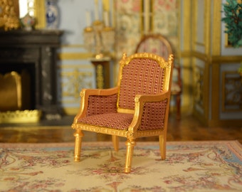 1 12 Miniature scale, Louis XVI Armchair, Dollhouse, Marie-Antoinette Furniture, Furniture Versailles, French Castle, French Furniture