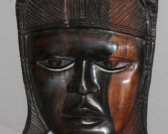 Vintage European Hand Carved Wood Wall Decor Mask Figurine