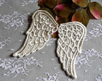 Large Angel Wings Lace Applique Ivory for Crafts Cards Scrapbooks Dolls Altered Art Cards LA02I