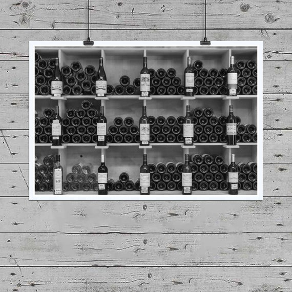 Black And White Wine Wall Decor : Wine bottles photo black and white print by