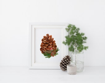 PRINTABLE art Pinecone Art Print Pine Cone Art Print Watercolor Christmas Decoration Holiday Decor Red Christmas Floral Red Cardinal