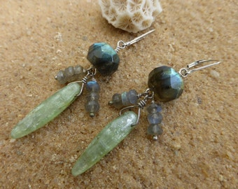 Labradorite Earrings Green Kyanite Sterling Silver Leverback Gemstone Jewellery Artisan Boho Dangly Designer Blue Flash
