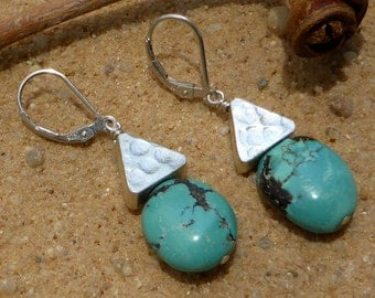 Turquoise Earrings Karen Hill Tribe Silver Sterling Leverback Gemstone Jewellery Boho Designer Artisan Statement Dangly