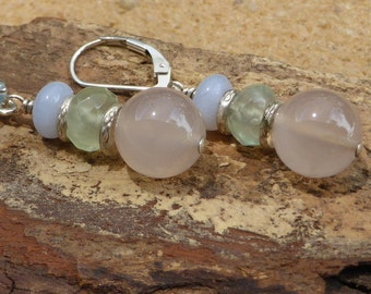 Chalcedony Earrings Pink Blue Faceted Prehnite Leverback Gemstone Sterling Silver Hill Tribe Silver Artisan Boho Pastel Bridal Designer