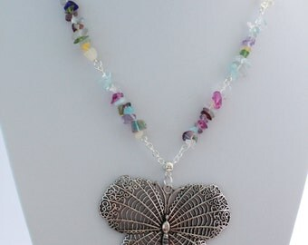 Large Butterfly Colourful Stone Necklace
