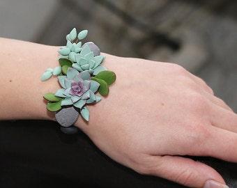 Mint Succulent Bracelet. Polymer clay Succulent plant Bracelet. Succulent wrist corsage. Miniature Plant Bracelet. Wedding Succulent Jewelry