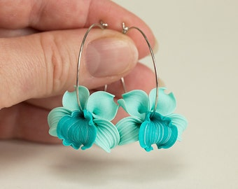 Orchid Earrings. Turquoise flower earrings. Tropical Flower hoops earrings. Polymer clay jewelry. Teal Earrings. Hoop earrings. Teal Jewelry