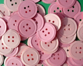 250-Baby shower decorations-pink button confetti- baby shower decorations girl-pink paper buttons-embossed buttons-cute-Scrapbook die cuts-