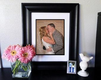 Custom PRINTABLE Wedding Vows/Song Lyrics and Wedding Picture Digital Art Print