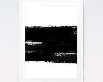 Modern Prints, Brush Artwork, Brush Stroke Painting, Contemporary Art, Printable Artwork, Black White, Abstract Modern, Minimal poster