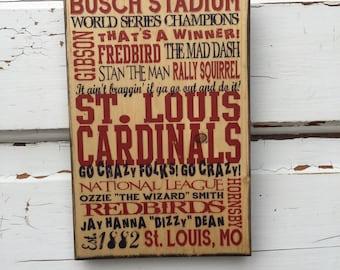 St Louis Cardinals Baseball Print on Wood, Cardinals Baseball Sign, St Louis Print for Him, Boys Room Decor, Baseball Art Guy, Gift For Dad
