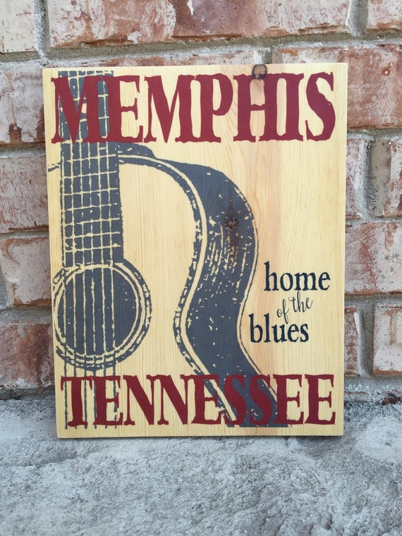 Memphis tennessee home of the blues guitar art print on wood Home decor stores memphis tn