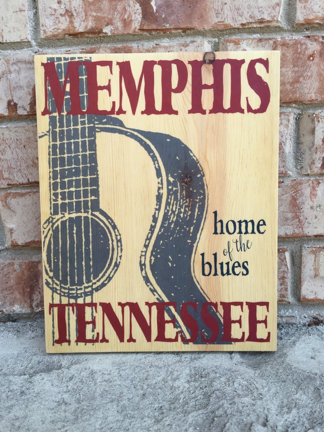memphis tennessee home of the blues guitar art print on wood memphis music art decor blues. Black Bedroom Furniture Sets. Home Design Ideas