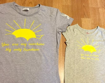"Mother daughter matching shirts--""You are my sunshine"""