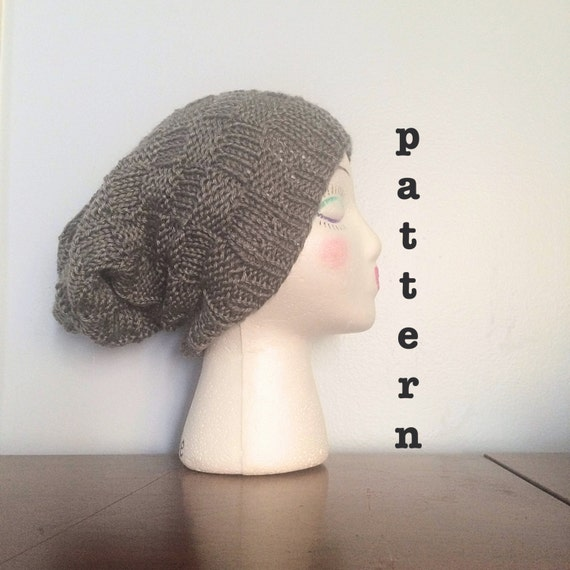 How To Loom Knit Slouchy Beanie Basketweave : Items similar to pattern knit basket weave beanie
