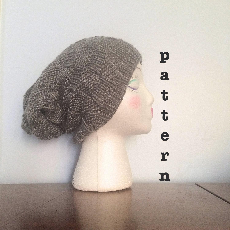 PATTERN Knit Basket Weave Beanie Slouchy Beanie Pattern