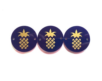 "Golden Pineapple on Dark Blue Discs - Pick your disc color choice - 1.25"" bead - bangle bead jewelry making"