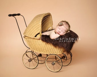 Digital Studio Backdrop Instant Download Vintage Baby Carriage Pram Scene Prop Newborn Baby Photography