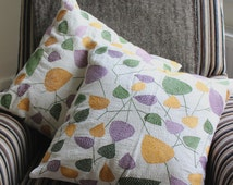 Coloured Leaves Decorative Throw Pillow. Gold Purple Green White Cotton Cover Button Back Hand Embroidered 40x40cm