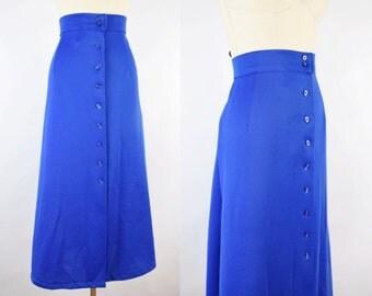Medium • 1970's • Mod Button-Front Long Skirt in Blue