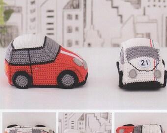 DMC (15325L/2) Cool Cars Amigurumi Crochet Pattern - designed by Sarah Shrimpton - Beetle and Mini Styles