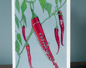 Chilli. Flute. Vegetable Card.  Birthday Card for Music Lover. Food Illustration. Anniversary Card for Foodie. Card for Music Teacher.