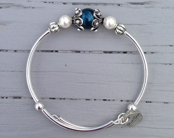 Petrol Swaovski Crystal Pearl Bracelet