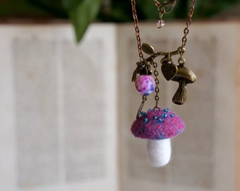 Woodland fairy fuchsia and blue mushroom necklace. Needle felted pendant inspired by nature and fairytales.