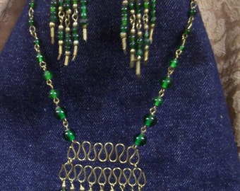 Vintage Gold tone And Green   Beaded Necklace and Earring set.