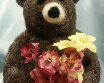 Handmade Needlefelted Flower Bear