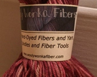 One skein WIlly Wonka Yarn Aerten Sock in Peonies with free pattern