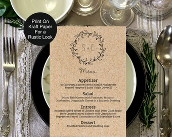 Wedding Menu Template, Rustic Kraft Classic Wreath Wedding Menu, wedding menu template, digital PDF, vintage wedding menu, DIY