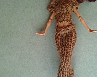 Hand Knitted Doll Outfit. Brown Knit Skirt and Top/