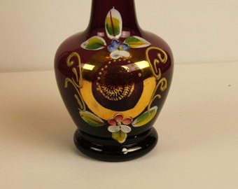 Boho Floral Glass Handpainted Vase