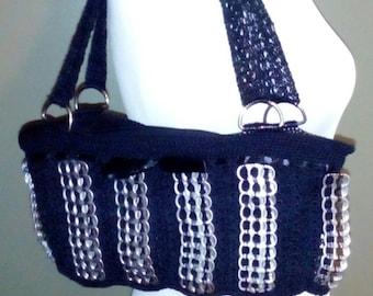 "NEW!! ""Mine"" SODA Tab Pop Top Pull Tab Crochet Purse Shoulder Bag Handmade"