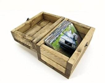 Handmade Wooden Recipe Card Box - Wood 4x6 Photo Box - Rustic Memory Box, Little Keepsake Box, Gift Box with Hinged Lid, Small Treasure Box